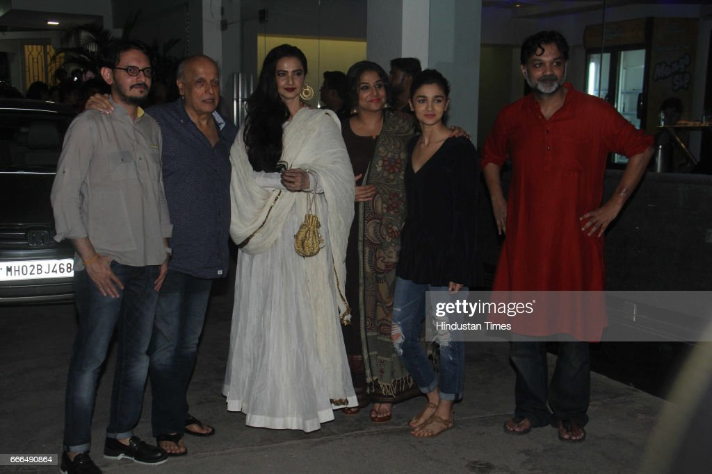 Bollywood filmmakers Srijit Mukherji Mahesh Bhatt actors Vidya Balan Rekha and Alia Bhatt during the special screening of film Begum Jaan at Sunny...