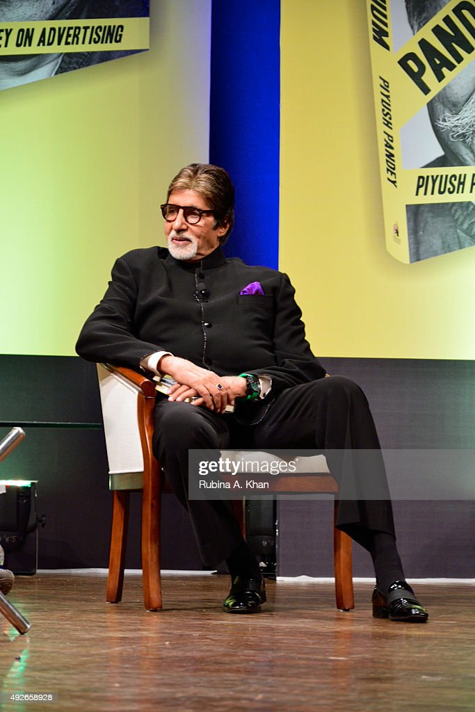 Bollywood legend, Amitabh Bachchan in conversation at the launch of Piyush Pandey's book, Pandeymonium, at the Jamshed Bhabha Theatre (NCPA) on October 14, 2015 in Mumbai, India.