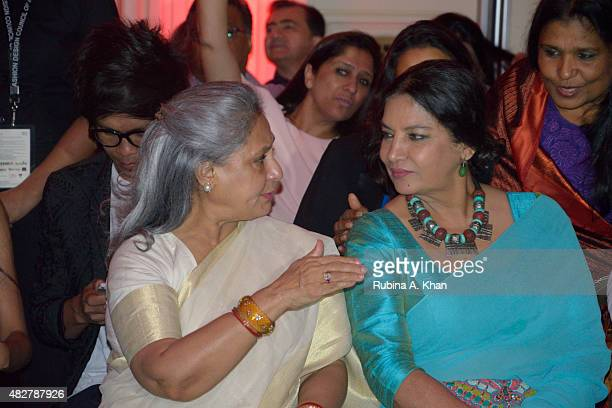 Bollywood legends Jaya Bachchan and Shabana Azmi at the Fashion Design Council of India's Amazon India Couture Week 2015's finale show by designer...