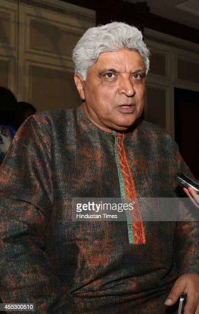 Bollywood lyricist Javed Akhtar during the launch of author Simar Malhotra's novel There is a Tide at The Oberoi hotel on September 9 2014 in New...