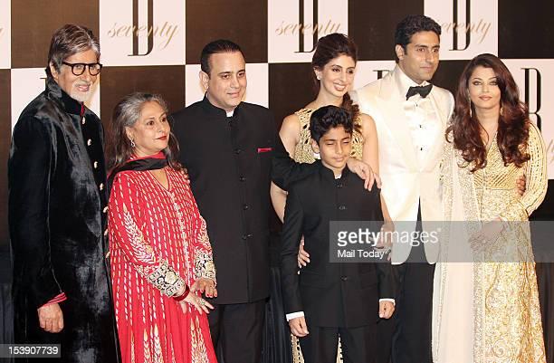 Bollywood megastar Amitabh Bachchan with wife Jaya Bachchan soninlaw Nikhil Nanda daughter Shweta son Abhishek Bachchan and daughterinlaw Aishwarya...
