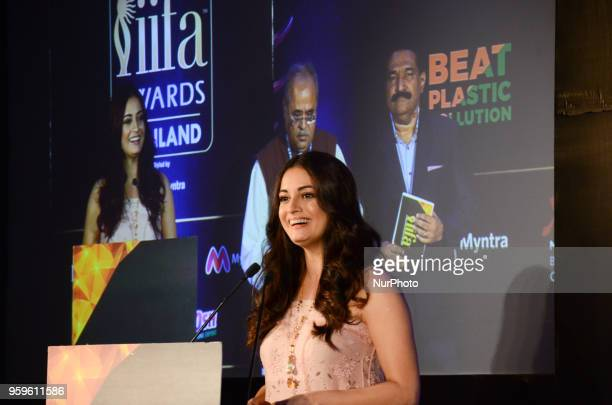 Bollywood movie actress Dia Mirza speaks during a press conference organized by Wizcraft to announce the 19th Edition of IIFA Weekend & Awards...