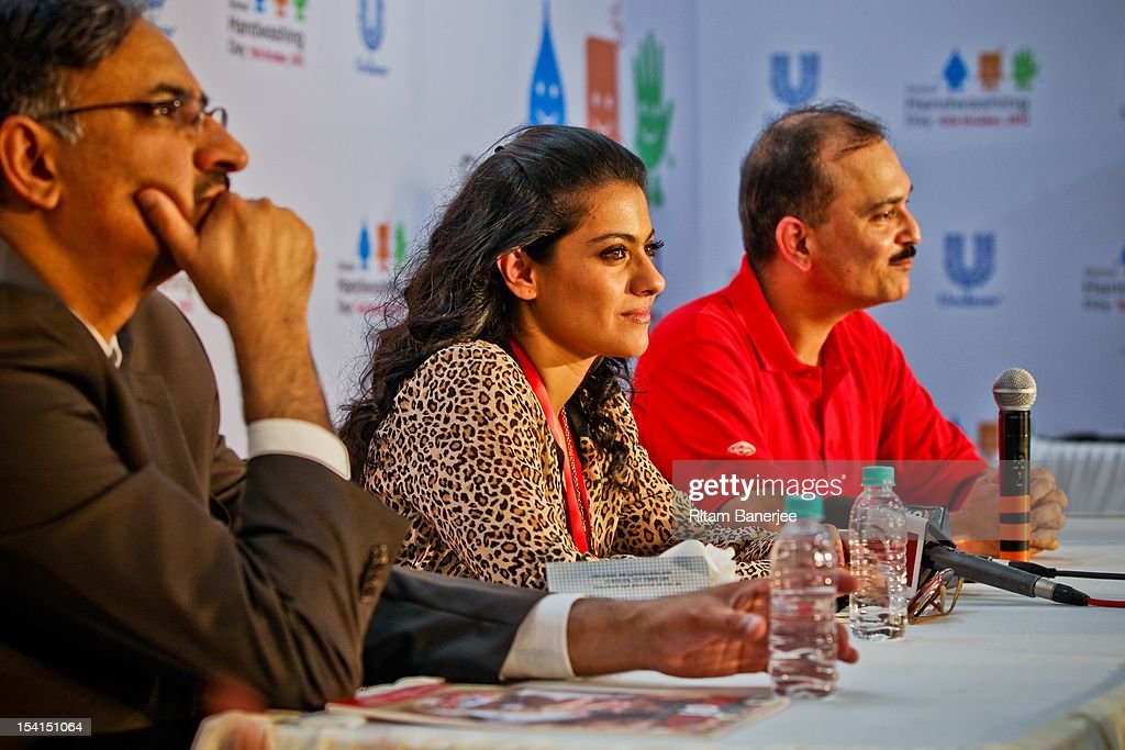 Bollywood movie actress Kajol sits alongside Dr Nirupam Bajpai and CEO MD of Unilever India Nitin Paranjpe as they attend a Global Handwashing Day...