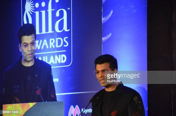 Bollywood movie director Karan Johar speaks at a press conference organized by Wizcraft to announce the 19th Edition of IIFA Weekend & Awards...
