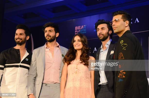 Bollywood movie stars Shahid Kapoor, Kartik Aaryan, Dia Mirza, Ranbir Kapoor and director Karan Johar pose for photographers after a press conference...
