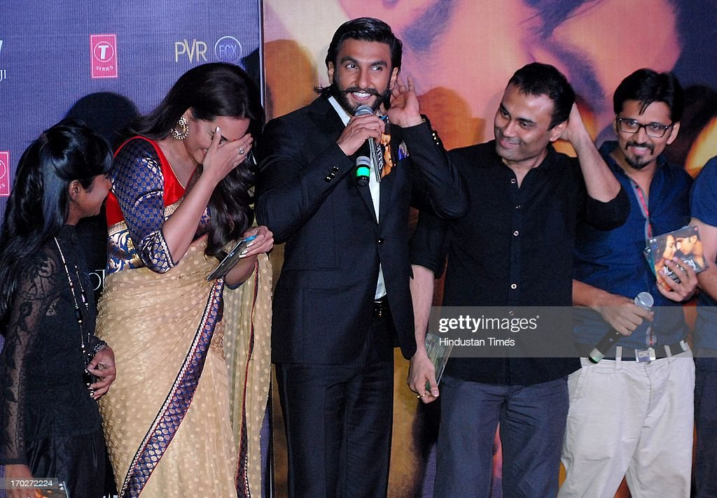 Bollywood music director Shilpa Rao and actors Sonakshi Sinha with Ranveer Singh during the music launch of movie Lootera at PVR Andheri on June 7...