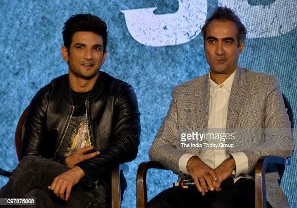 Bollywood Personalities Sushant Singh Rajput and Ranvir Shorey clicked at the trailer launch of the upcoming filmSonchiriya in Mumbai