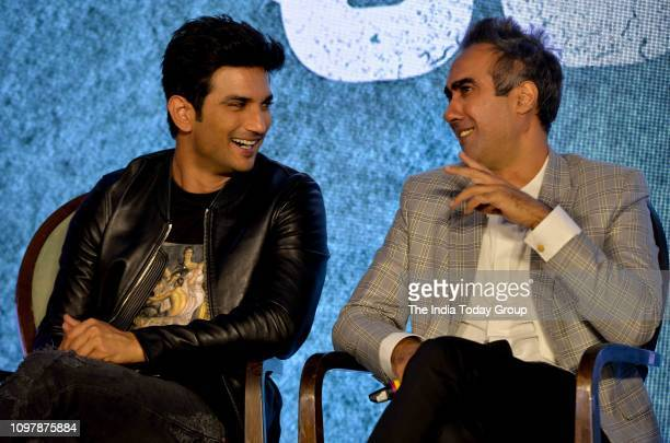 Bollywood Personalities Sushant Singh Rajput and Ranvir Shorey clicked while addressing the press at the trailer launch of the upcoming...