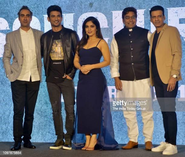 Bollywood Personalities Sushant Singh Rajput Bhumi Pednekar Manoj Bajpayee Ranvir Shorey and Ashutosh Rana pose for a photograph at the trailer...