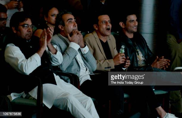 Bollywood Personalities Sushant Singh Rajput Manoj Bajpayee Ranvir Shorey and Ashutosh Rana clicked at the trailer launch of the upcoming...