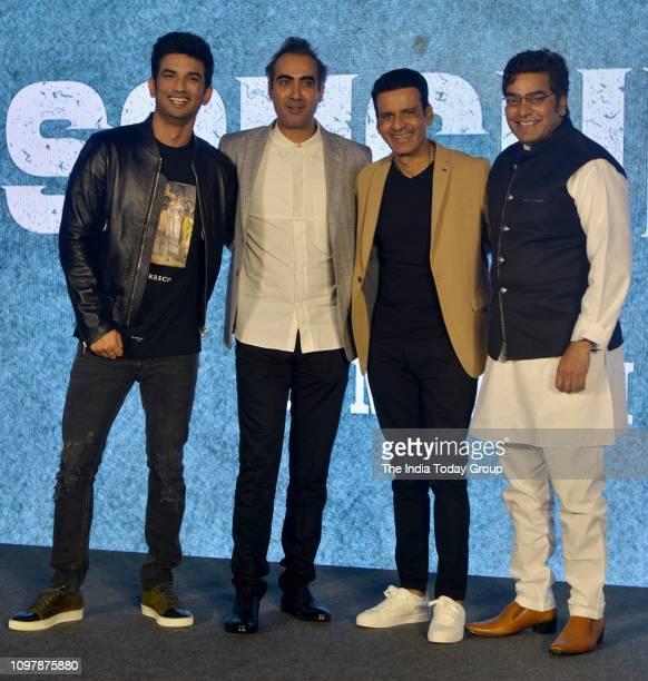 Bollywood Personalities Sushant Singh Rajput Manoj Bajpayee Ranvir Shorey and Ashutosh Rana pose for a photograph at the trailer launch of the...