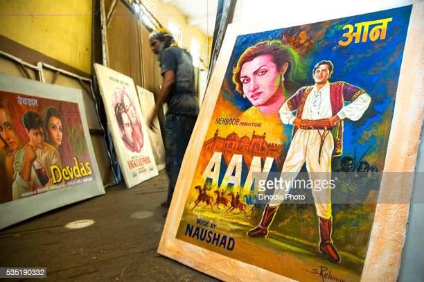 Bollywood poster painter in Mumbai, Maharashtra, India.