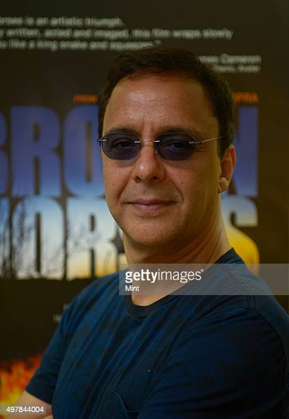 Bollywood producer and director Vidhu Vinod Chopra during an interview at his office on April 8 2015 in Mumbai India