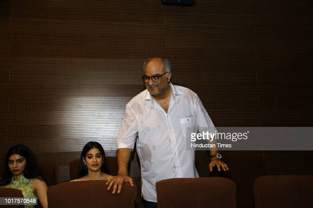 Bollywood Producer Boney Kapoor and daughters Jhanvi and Khushi during a special event to mark late actor Sridevi's 55th birth anniversary organised...