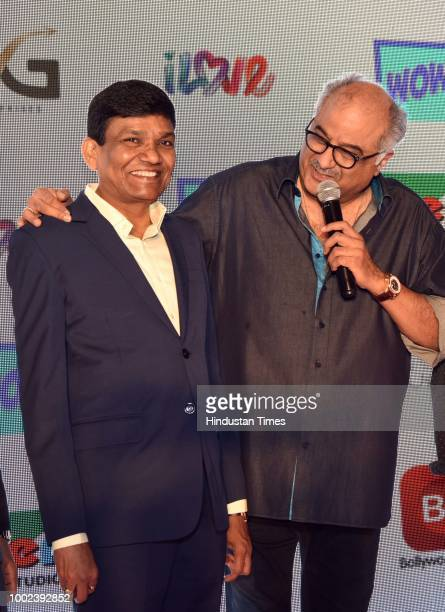 Bollywood producer Jayantilal Gada and filmmaker Boney Kapoor during the launch of a new television channel WOW on July 18 2018 in New Delhi India...