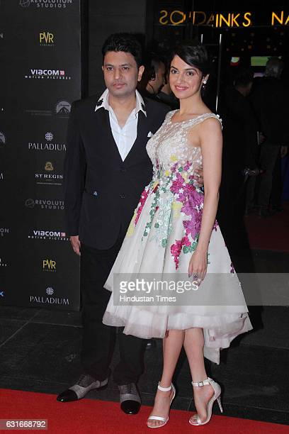 Bollywood producers Bhushan Kumar and Divya Kumar at the red carpet of premier of 'xXx Return of Xander Cage' movie on January 12 2017 in Mumbai...