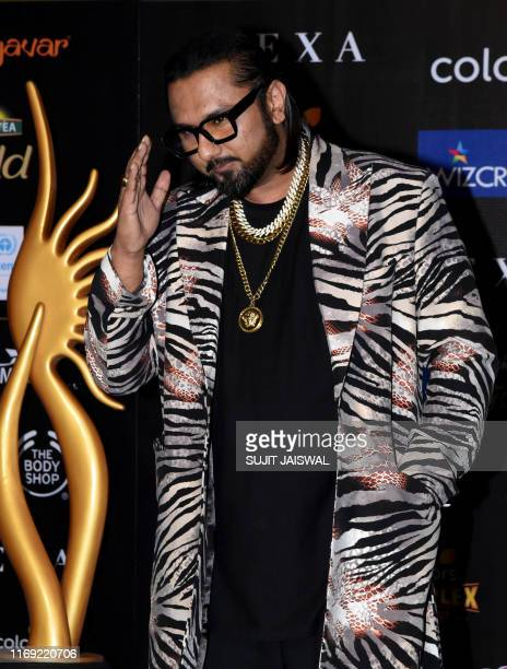 Bollywood signer Honey Singh arrives for the 20th International Indian Film Academy Awards at NSCI Dome in Mumbai on September 18, 2019.