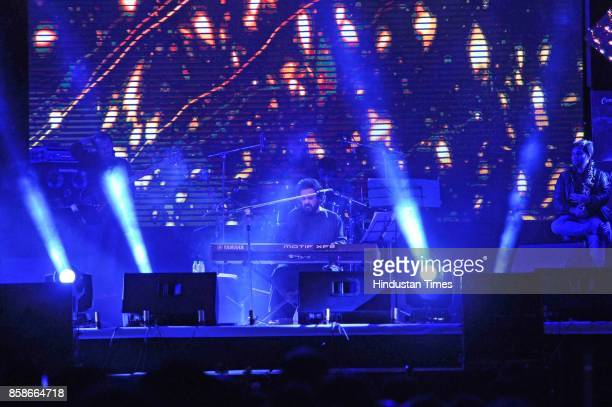 Bollywood singer Adnan Sami performs during a concert on October 7 2017 in Srinagar India