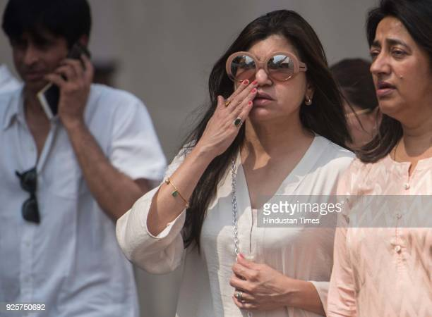 Bollywood singer Alka Yagnik at celebration club to pay last respect to the late actor Sridevi at Andheri on February 28 2018 in Mumbai India The...