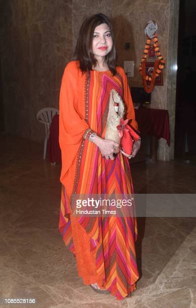 Bollywood singer Alka Yagnik during birthday celebration of Bollywood producer Ramesh Taurani at his residence in Khar on January 17 2019 in Mumbai...