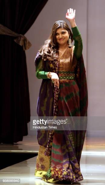 Bollywood singer Alka Yagnik walks the ramp in a silk tieanddye sari for designer friend Sucheta V Merh at Wills Lifestyle India Fashion Week 2008 in...