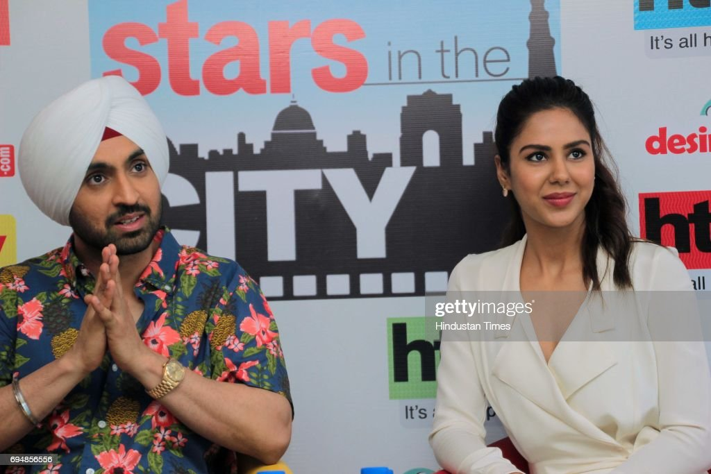 Bollywood singer and actor Dijit Dosanjh and Punjabi actor Sonam Bajwa during an exclusive interview with HT CityHindustan Times for the promotion of.