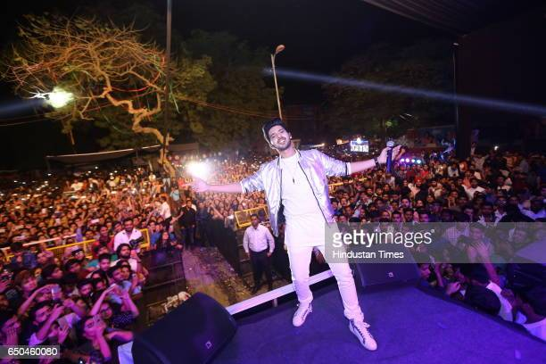 Bollywood singer Arman Malik performs during the Crossroads 2017 the fest of Shri Ram College of Commerce on March 7 2017 in New Delhi India