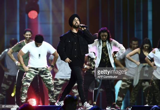 Bollywood Singer Diljit Dosanjh performs on stage during IIFA Rocks July 14 2017 at the MetLife Stadium in East Rutherford New Jersey during the 18th...
