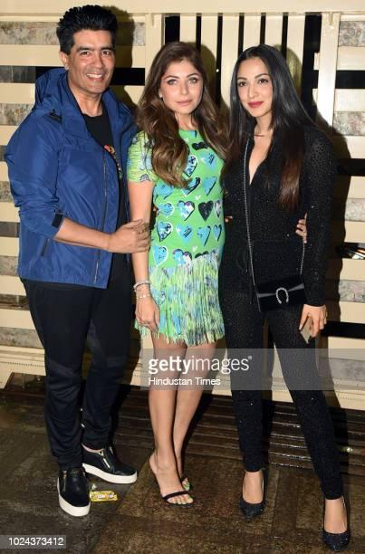 Bollywood singer Kanika Kapoor fashion designer Manish Malhotra with actor Kiara Advani spotted on August 21 2018 in Mumbai India