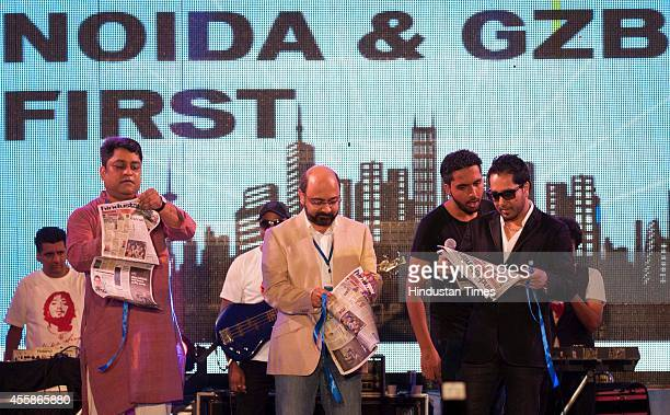 Bollywood singer Mika Singh during a concert as a part of Hindustan Timess Noida and Ghaziabad first initiative on September 20 2014 in Noida India