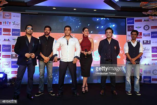 Bollywood singer Mika Singh filmmaker Kabir Khan actors Salman Khan Kareena Kapoor Nawazuddin Siddiqui and singer Adnan Sami during the promotion of...