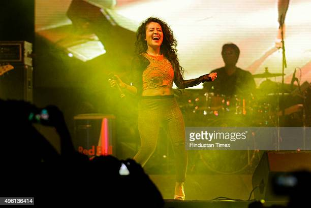 Bollywood singer Neha Kakkar performs during an Ignite Fire event on Friday late night in Sector29 on November 7 2015 in Gurgaon India