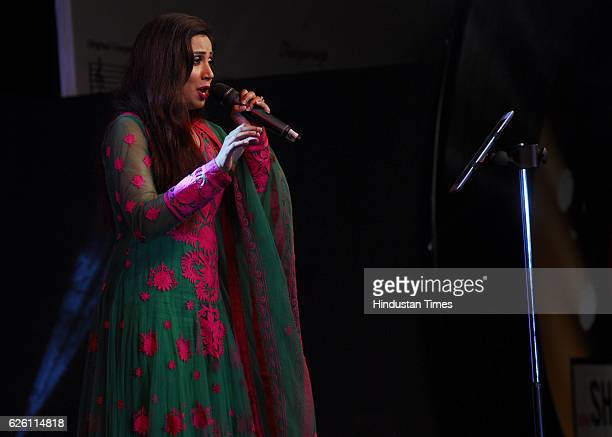 Bollywood singer Shreya Ghoshal performs during the music launch of movie Shamitabh on January 20 2015 in Mumbai India The evening also marked the...