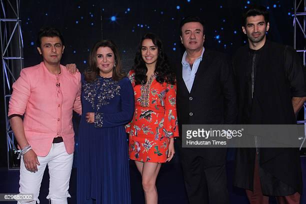 Bollywood singer Sonu Nigam director Farah Khan actor Shraddha Kapoor singer Anu Malik and actor Aditya Roy Kapur on the set of Indian Idol Season 9...