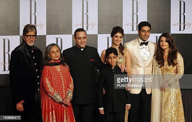 Bollywood star Amitabh Bachchan poses with wife Jaya Bachchan soninlaw Nikhil Nanda daughter Shweta Nanda son Abhishek Bachchan and daughterinlaw...