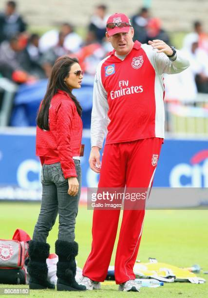 Bollywood star Preity Zinta chats to Tom Moody during the IPL T20 match between Kings XI Punjab v Kolkata Knight Riders at Sahara Park on April 21...