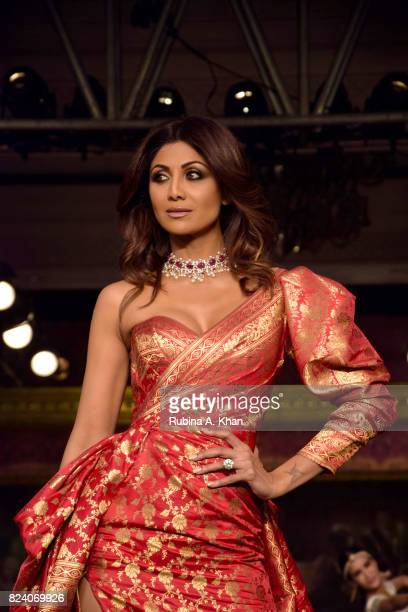 Bollywood star Shilpa Shetty walks for Monisha Jaising at FDCI's India Couture Week 2017 at the Taj Palace hotel on July 28 2017 in New Delhi India
