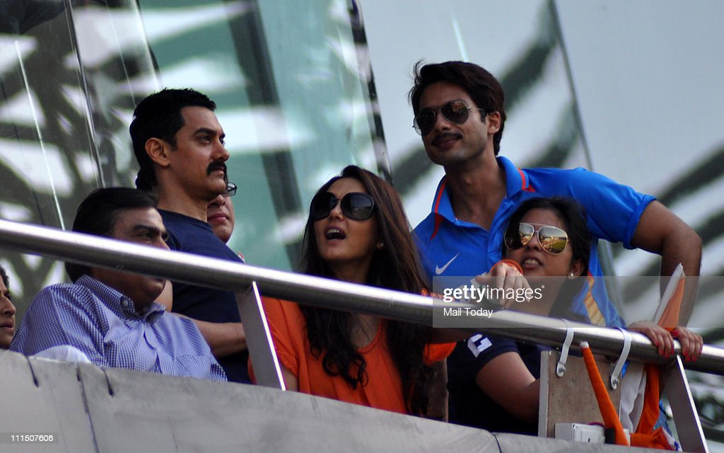 Bollywood stars Aamir Khan Preity Zinta and Shahid Kapoor together during the ICC Cricket World Cup final between India and Sri Lanka at Wankhede...