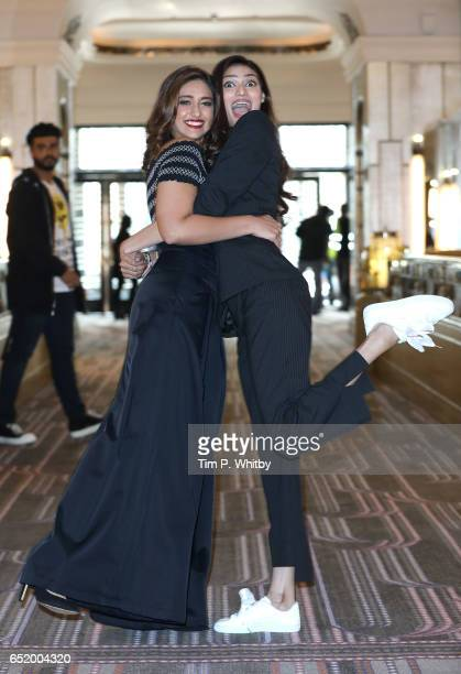 Bollywood Stars Ileana D'Cruz and Athiya Shetty attend a photocall for the Bollywood comedy 'Mubarakan' on March 11 2017 at the Sheraton Park Lane...