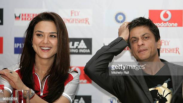 Bollywood Stars Preity Zinta and Shah Rukh Khan attend the press conference for Indian Premier League at the Cape Town International Conference...