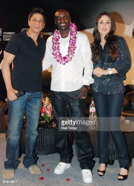 Bollywood stars Shah Rukh Khan Kareena Kapoor and singer Akon pose at a news conference for their forthcoming movie 'RaOne' in Mumbai March 9 2010