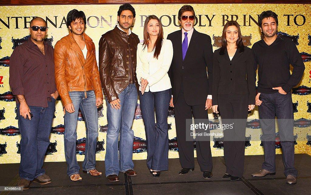 Bollywood stars Vishal Dadlani Riteish Deshmukh Abhishek Bachchan Aishwarya Rai Amitabh Bachchan Preity Zinta and Shekhar Ravjiani pose for...