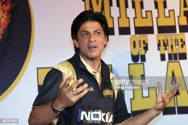 Bollywood Superstar Shah Rukh Khan at the launch of the music album for his Cricket team Kolkata Knight Riders at Hotel Taj Land's End on April 16...