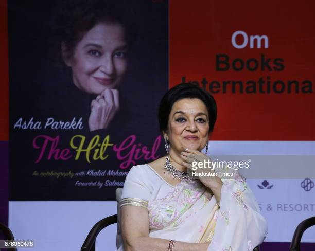 Bollywood veteran actor Asha Parekh during the launch of her autobiography The Hit Girl cowritten with film critic Khalid Mohamed on April 30 in New...
