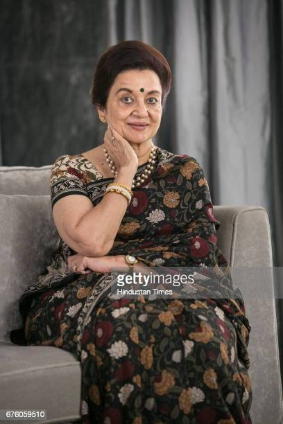 Bollywood veteran actor Asha Parekh poses before the launch of her autobiography The Hit Girl cowritten with film critic Khalid Mohamed on April 30...
