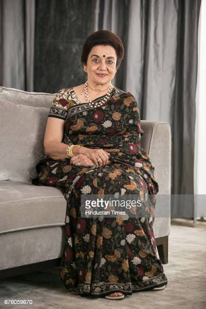 Bollywood veteran actor Asha Parekh poses before the launch of her autobiography 'The Hit Girl' cowritten with film critic Khalid Mohamed on April 30...