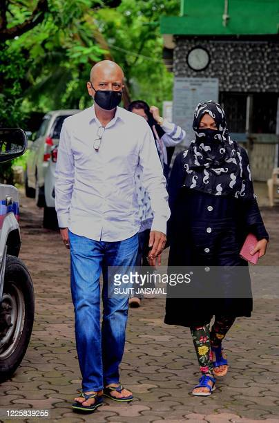 Bollywood writer and film director Naved Jaffrey attend the funeral of his father Bollywood actor Syed Ishtiaq Ahmed Jaffrey commonly known as...