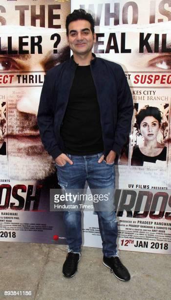 Bollywoood actor Arbaaz Khan during the trailer launch of film 'Nirdosh' at Sunny Super Sound Juhu on December 12 2017 in Mumbai India