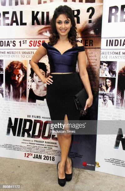 Bollywoood actor Manjari Phadnis during the trailer launch of film 'Nirdosh' at Sunny Super Sound Juhu on December 12 2017 in Mumbai India