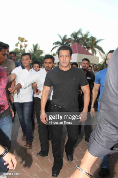 Bollywoood actor Salman Khan during a launch of a Bina Kak's book Silent Sentinels Of Ranthambhore at Taj Lands End Bandra on December 12 2017 in...